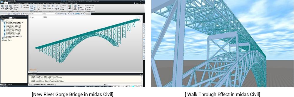 New River Gorge Bridge in midas CIVIL, Walk through effect
