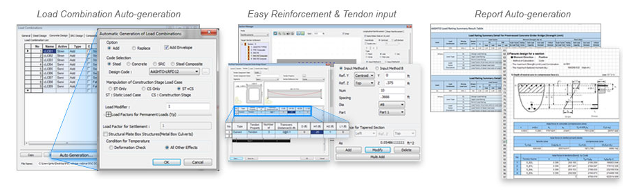 Load Combination Auto-generation, Easy Reinforcement and Tendon input, Report Auto-generation