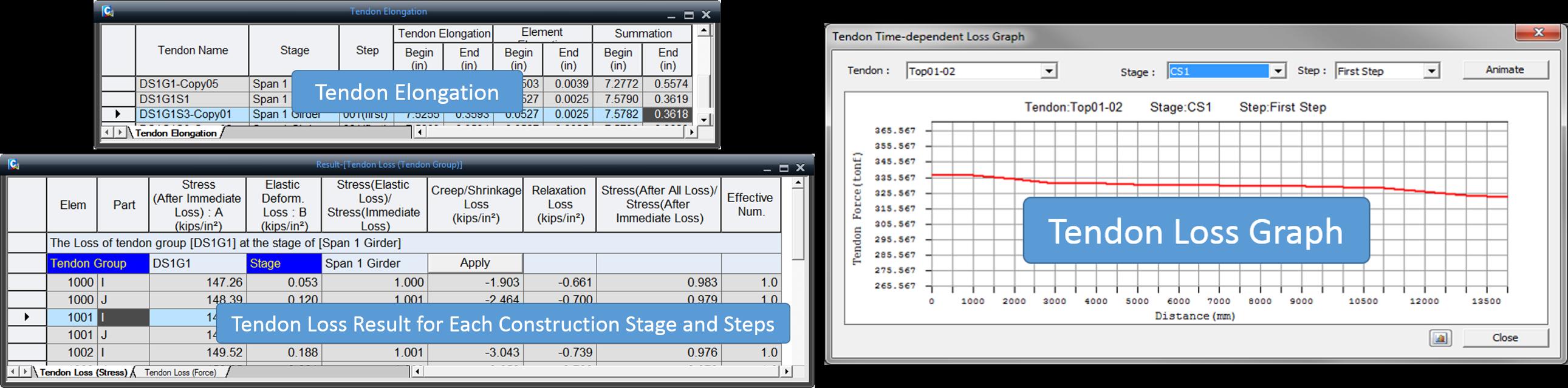 Licensed-Tendon Elongation, Tendon Loss Result, Tendon Loss Graph-MIDASoft